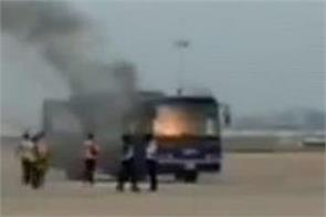 indigo bus catches fire at chennai airport