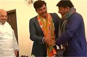 amit shah joined the bjp in existence bhojpuri star ravi kishan