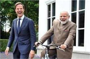 netherlands pm modi receives gift bicycle