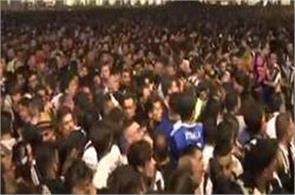 a sudden stampede in people watching champions league