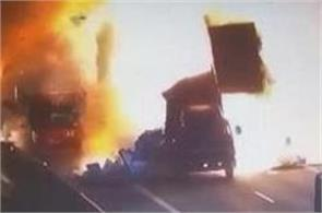 truck van collision causes explosion in china