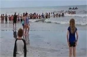 beachgoers in florida form human chain to rescue family in water