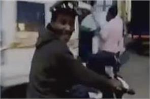 drunk man run away police bike