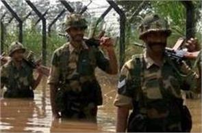 salute to the soldiers the country security by standing in water