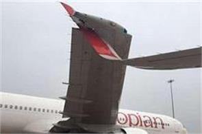 ethiopian airlines collides with air india at the igi airport
