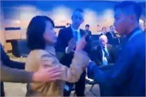 chinese reporter held for alleged slap at uk tory meeting