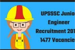 applications for recruitment of 1477 posts of je were sought