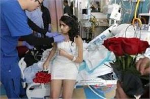 advanced stage cancer patient young girl married in hospital
