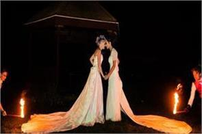these women set their gowns on fire for a wedding photoshoot