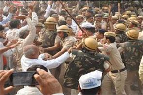 roadways employees did stone pelting police did lathi charge