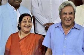 husband kaushal happy with sushma s decision not to contest elections