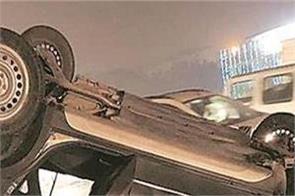 drunk women loses car control