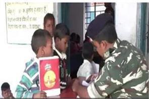 crpf soldiers held pens instead of gun children are educated