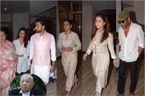 aishwarya abhishek juhi and other celebs attend nana chudasamas prayer meet