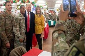 trump and melania reached iraq to give surprise to us troops