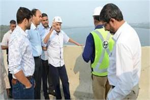 goa s cm parrikar arrives to inspect two bridges