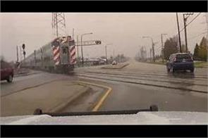 video captures frightening near miss after gate fails at train crossing