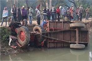 bokaro accelerated speeding tractor rises unmanned 2 people die