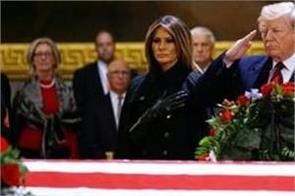 george hw bush funeral trump pays respects at us capitol