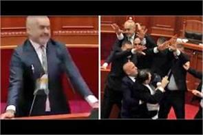 albanian pm edi rama pelted with eggs in parliament