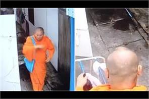 monk caught on camera stealing women s underwear