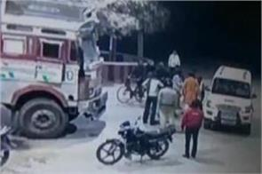 bjp leader thrashing truck driver at petrol pump