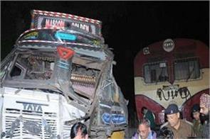 collision of train and truck in hapur