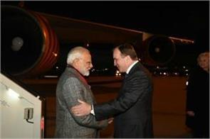 modi arrived in stockholm sweden pm welcomed