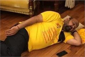 tdp mp sleeping in the speaker chamber during the protest