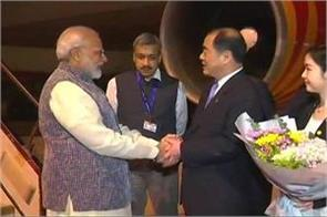 prime minister modi arrives at wuhan on a two day visit to china