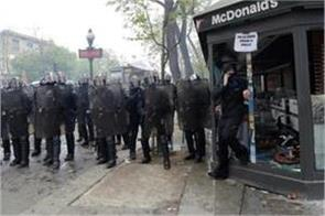 paris mcdonald s restaurant set on display on may day hundreds detained