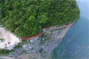 new glass bottomed walkway opens at 4 600ft in china