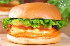 homemade kfc paneer zinger burger