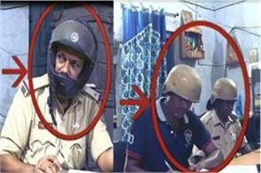 police officers wear helmet in police station