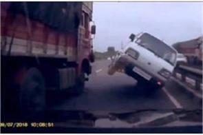 van overtaking truck on national highway in valsad video viral