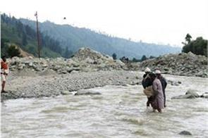 flood in tral due to cloud brust