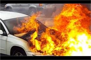 fire in a moving car on the jhansi kanpur highway children and