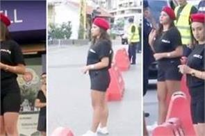 female police of lebanon wearing mini skirts to change