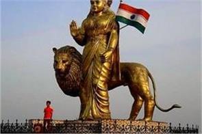 statue of bharat mata made from octal metal in mandsaur