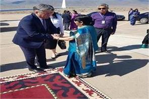 sushma swaraj s journey to kyrgyzstan left for uzbekistan