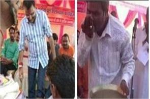 bjp worker woke the feet of mp nishikant dubey piya water photo posted on
