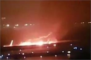passenger plane overshoots runway catches fire in sochi 18 injured