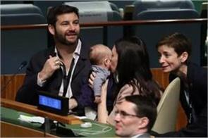 new zealand pm takes 3 month old baby to unga session