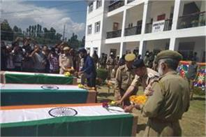 tribute paid to police martyrs in shopian