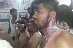 acid attack 10 wounded congress leaders firing victory raily