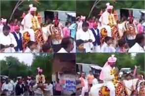 mla comes on horse for inaugration