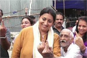 union minister smriti irani casting her vote at a polling booth in mumbai