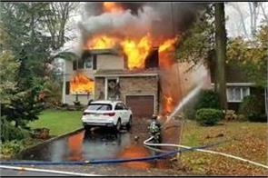 small plane crash sets homes on fire in new jersey