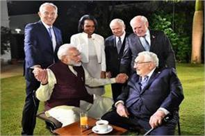 pm modi meets former us foreign ministers and former british prime minister