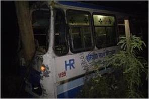 haryana roadways bus collided with tree 10 passengers injured 3 serious